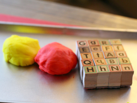 playdough letter matching activity for kids