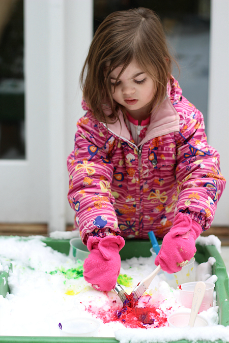 color mixing outside in the snow