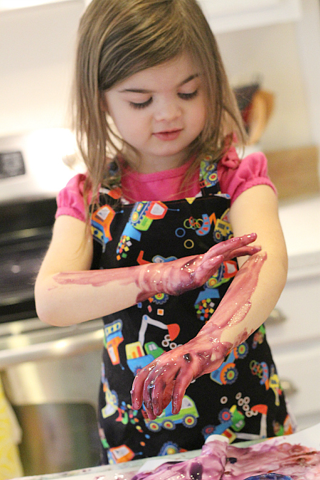 finger painting turns to arm painting