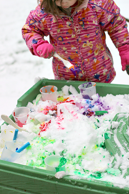 painting the snow winter activities for kids