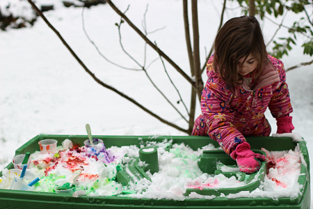 snow painting activity for kids