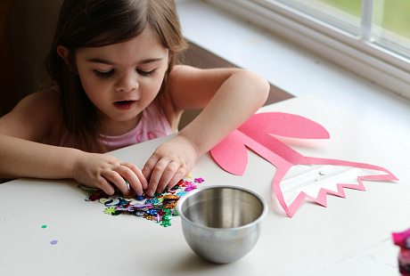 contact paper flower craft with sequins