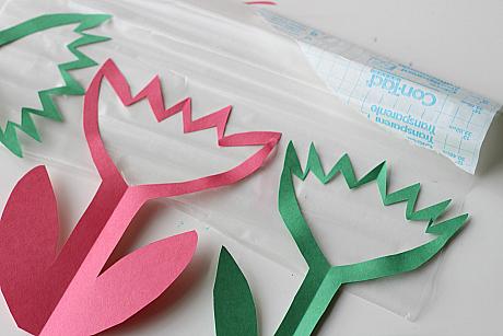 contact paper flower sun catchers