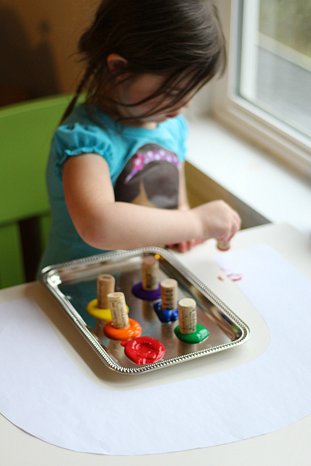 cork painted rainbow craft for kids