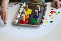 cork painting rainbows st. patrick's day craft