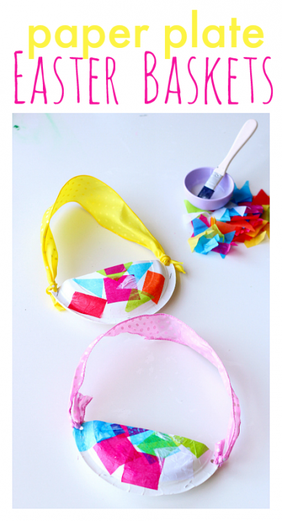 Preschool Art Easter Basket : Paper plate easter baskets no time for flash cards
