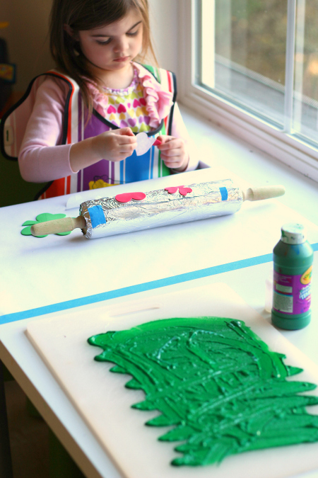 rolling pin shamrock art project for kids