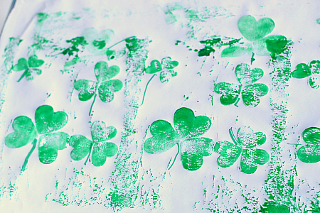 shamrock prints with foam stickers