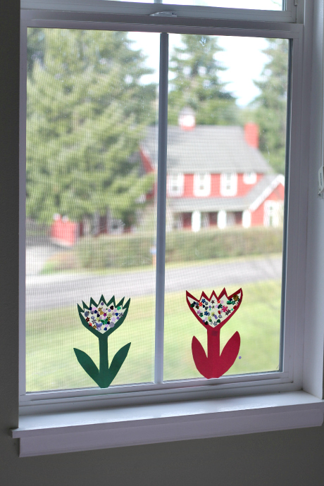 sparkle flower craft in window