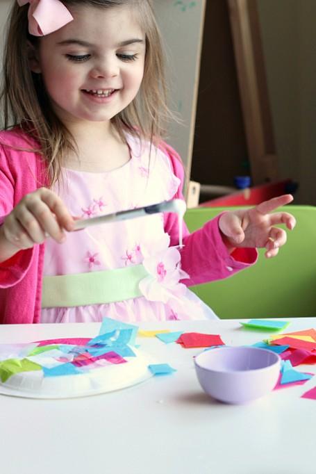 tissue paper collage easter basket for kids