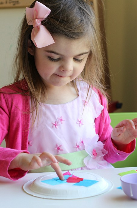 tissue paper easter basket craft for kids