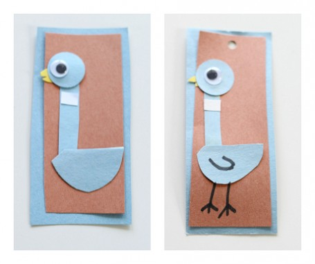 how to make a pigeon bookmark for kids