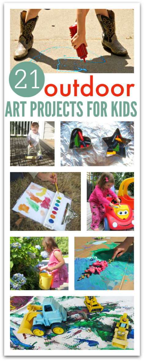 21 outdoor art projects for kids no time for flash cards for Best paint for outdoor crafts