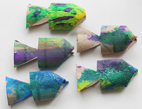 cardboard roll fish craft for kids