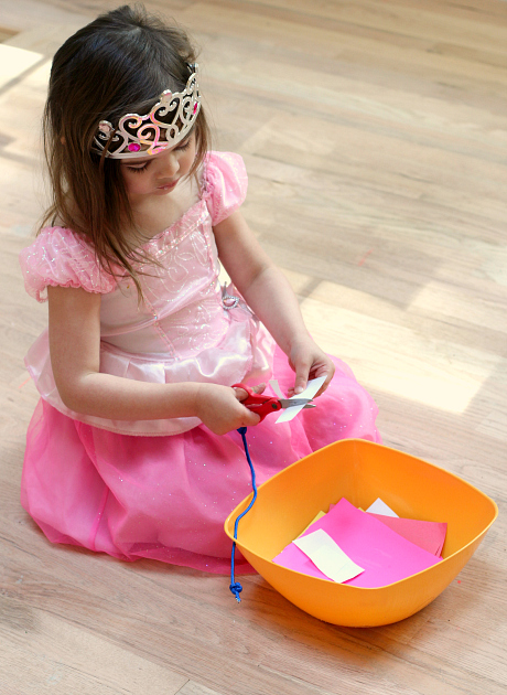 cutting station fine motor skills activity at home