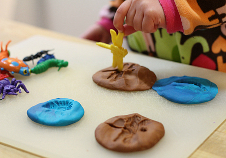 play dough bug imprints for preschool