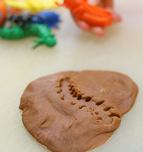 playdough fossils rainy day activity