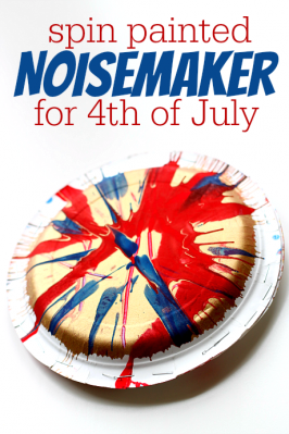 4th Of July Crafts  – Spin Painted Noisemaker