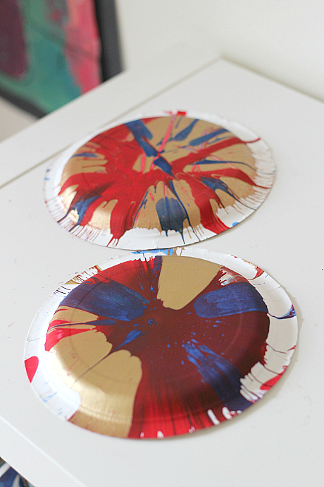 4th of july spin painted tambourine craft