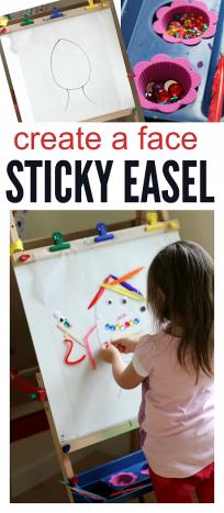 create a face sticky easel activity for preschool