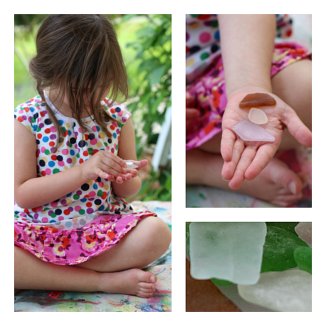 exploring sea glass with preschoolers