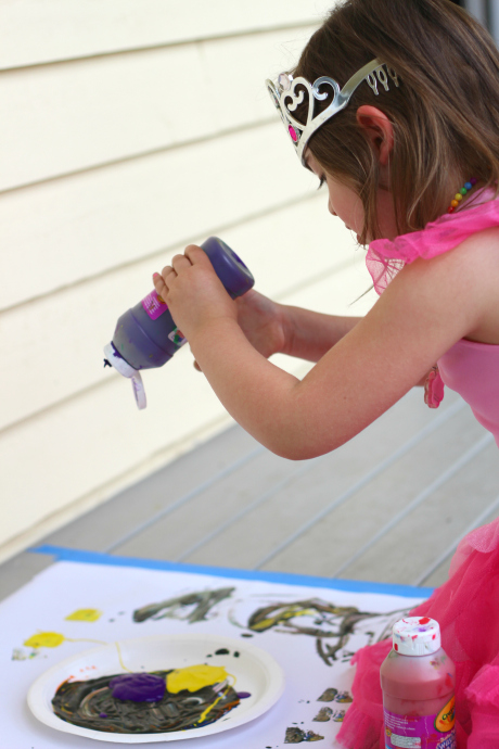 painting activity for kids with created paint brushes