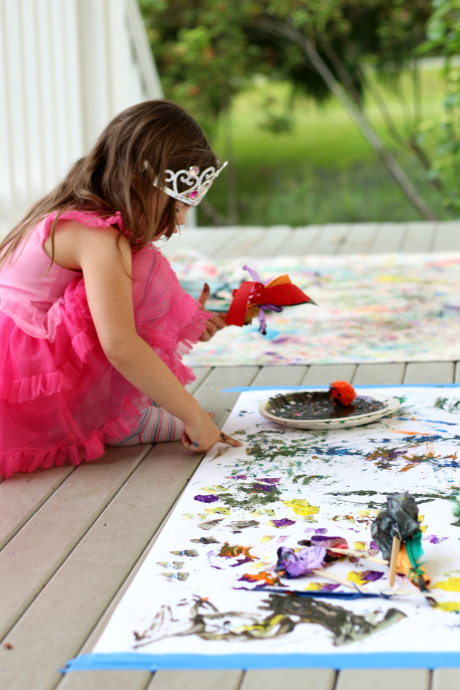 painting with homemade paintbrushes