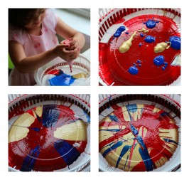 spin painted noisemaker craft for 4th of july