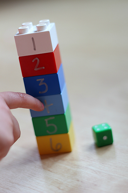 Lego subitizing game for prek