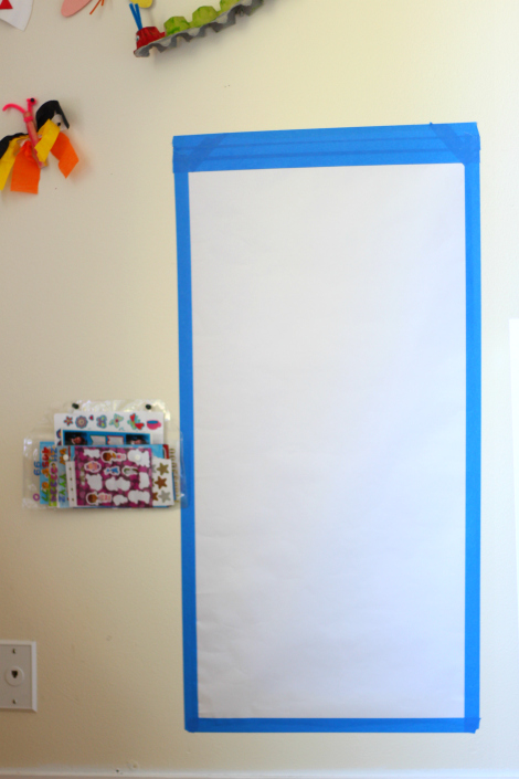 Sticker wall activity for kids set up