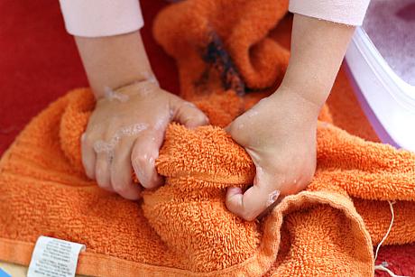 wiping dolly feet