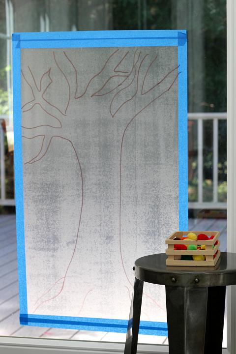 fall pom pom tree for preschool mural