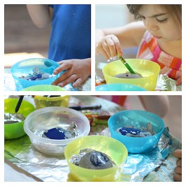 melted crayon on hot rocks activity for kids
