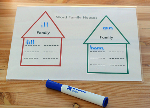 word family houses for kindergarten