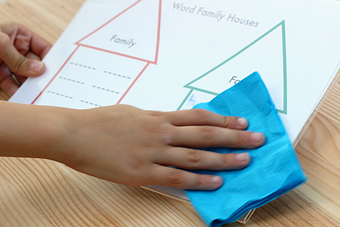write and wipe word family activity for kindergarten