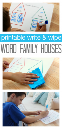 Word Families Printable – Write & Wipe !