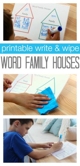 Word Families Printable – Write & Wipe !