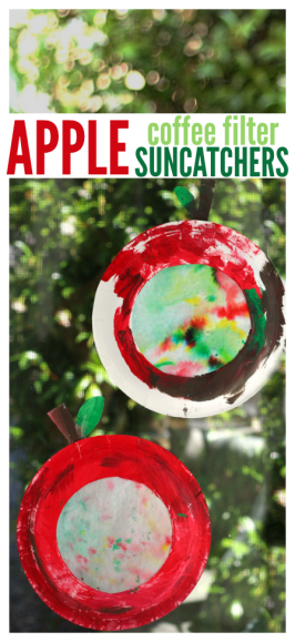 Coffee Filter & Paper Plate Apple Craft for Fall
