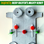 Recycled Robot Craft inspired by The Ricky Ricotta Books by Dav Pilkey