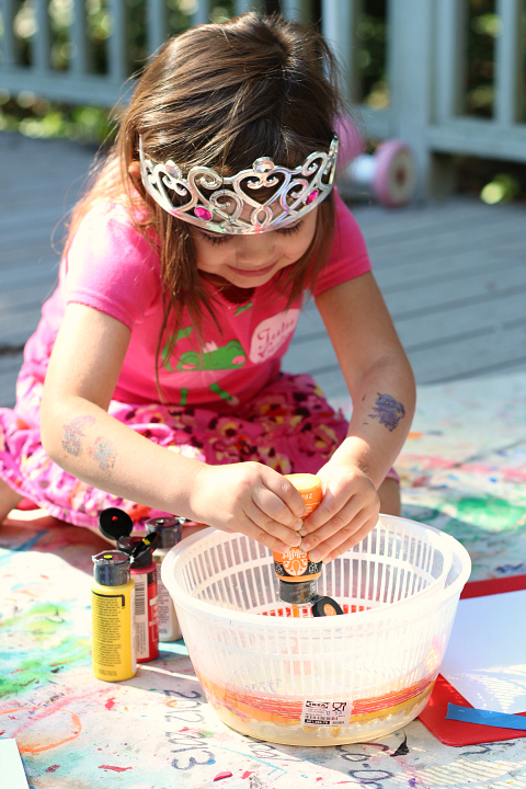 spin painted leaves fall art activity for kids