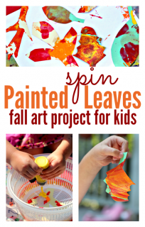 spin painted leaves fall art project for kids