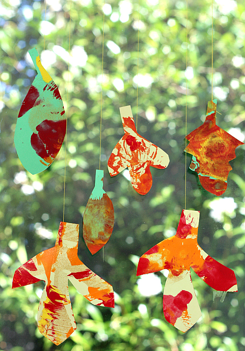 spin painted leaves for children fall art project