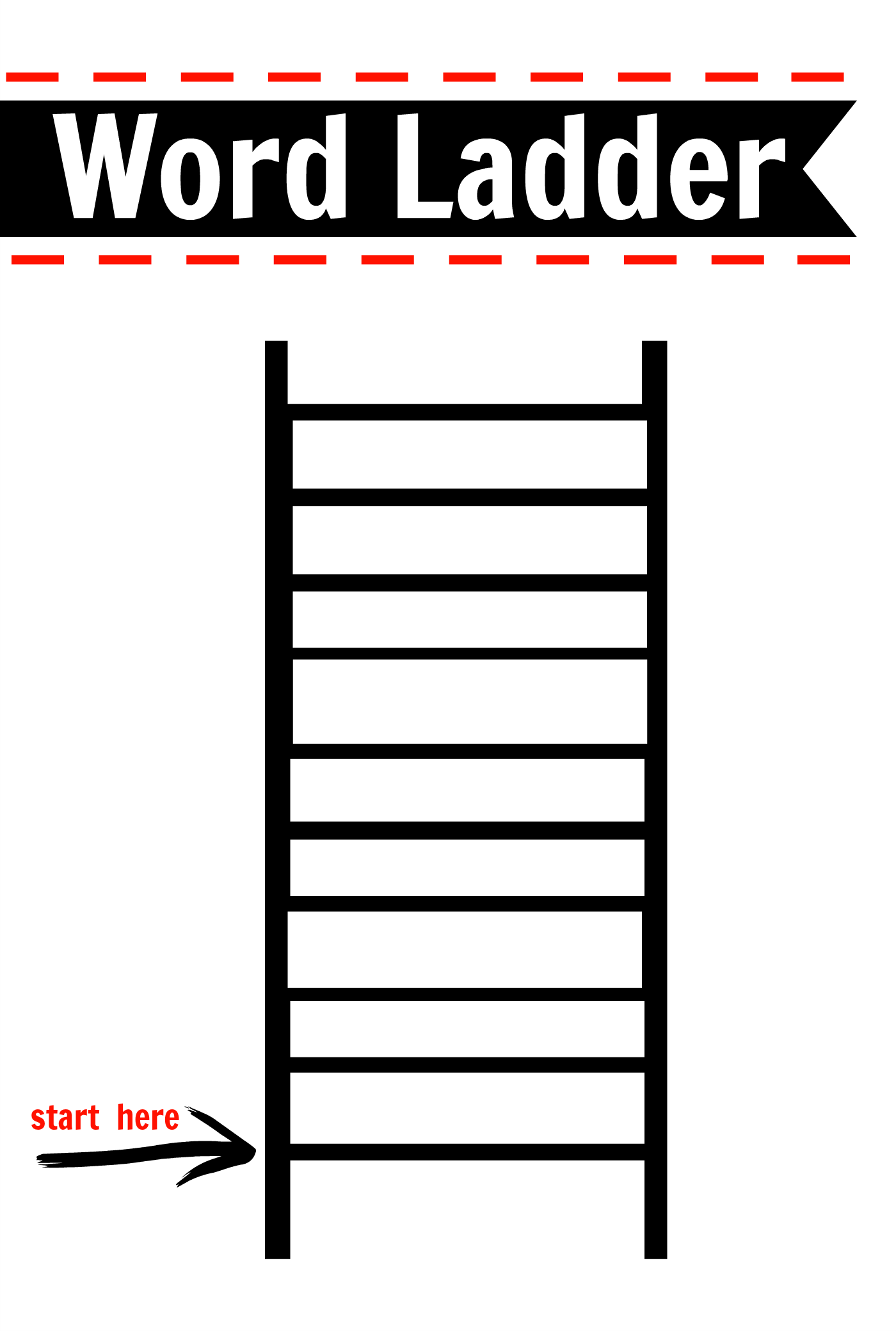 After school activity word ladders printable free for Blank word wall template free