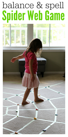 spider web balance game for preschool