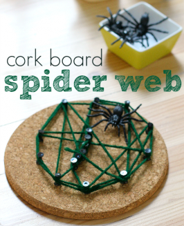 Cork Board Spider Web Craft