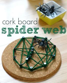 Cork Board Spider Web Craft