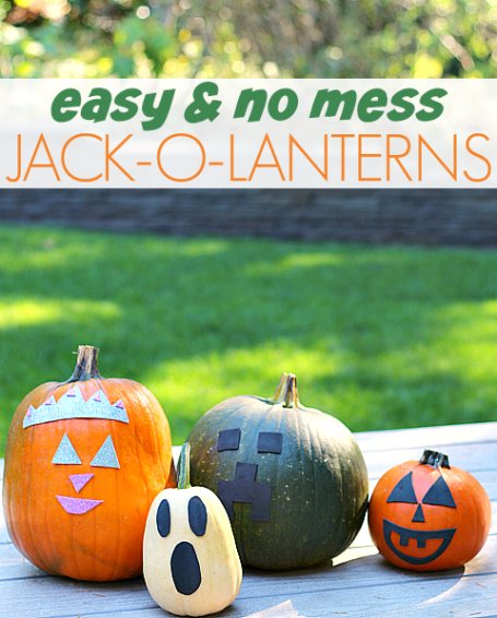 no mess pumpkin carving for kids