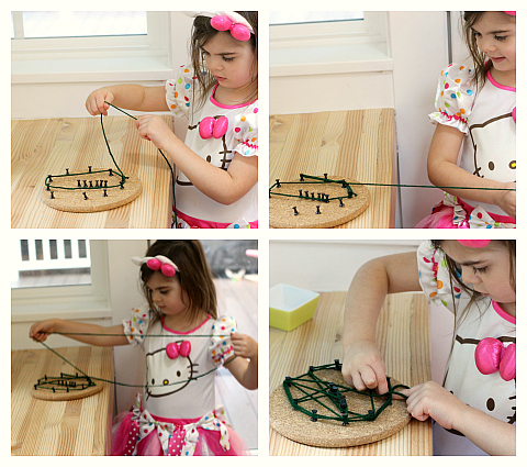 spider web yarn art for kids
