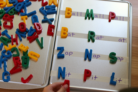word building with magnets and cookie sheets