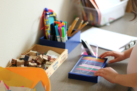writing center in playroom